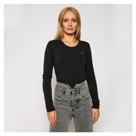 Tommy Jeans dámské černé tričko s dlouhým rukávem Jersey Tommy Hilfiger