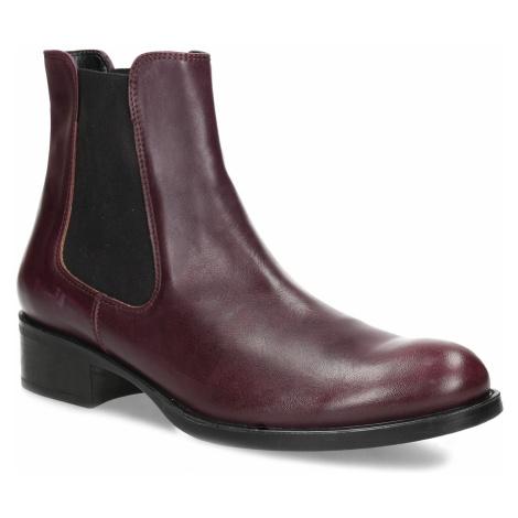Dámská vínová kožená Chelsea obuv Baťa