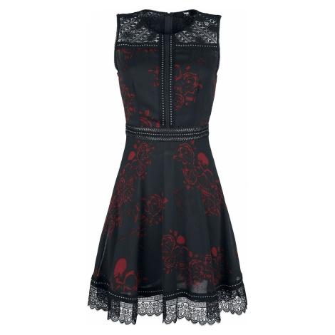 Black Premium by EMP Černé šaty s celoplošným potiskem, nýty a krajkovými detaily Šaty černá