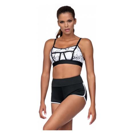 Fitness šortky Amy černé bílý lem Lorin