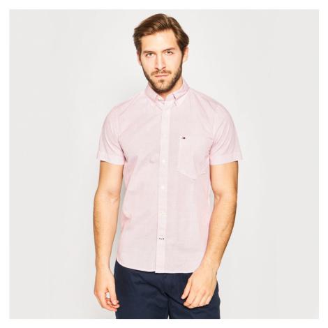 Tommy Hilfiger pánská růžová košile se vzorem