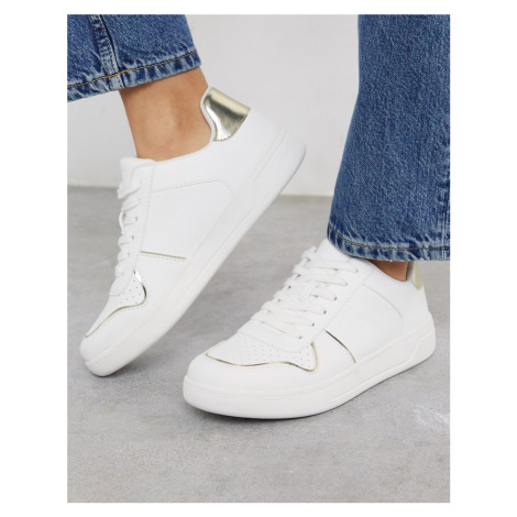 Miss Selfridge trainers in white and gold