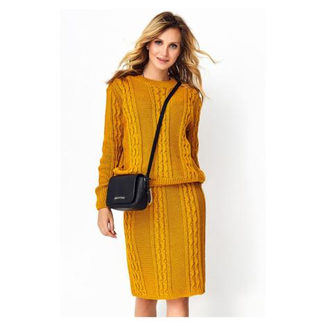 Žlutý komplet pulovr + sukně S97 Makadamia