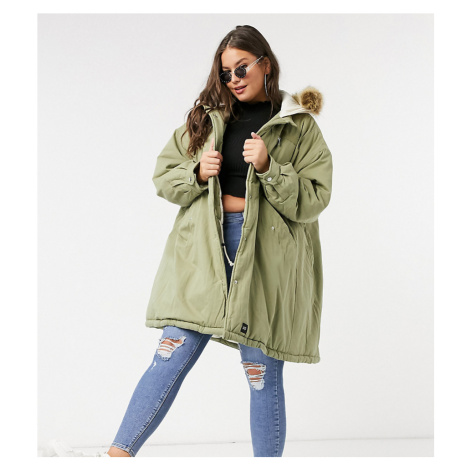 Sixth June Plus oversized parka coat with faux fur hood-Green