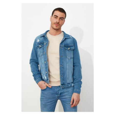 Trendyol Blue Men's Destroyed Pocket Zip Denim Jacket