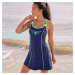 Blancheporte Jednodílné plavky se sukénkou modrá/anýzová