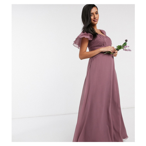 ASOS DESIGN Maternity Bridesmaid short sleeve ruched maxi dress in Dusty Mauve-Purple