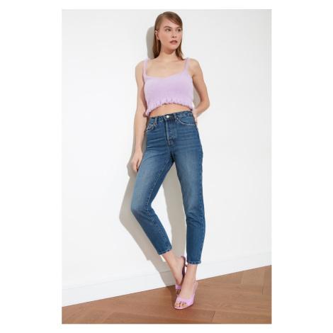 Trendyol Dark Blue Wash High Waist Jeans