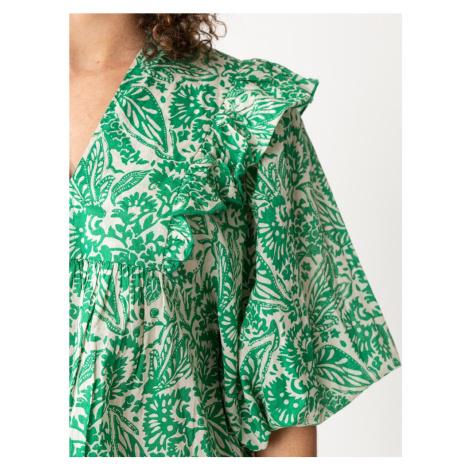 Indiska Halenka 'Cornelia' zelená / bílá