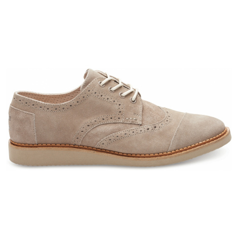 Desert Taupe Suede Men's Brogue Lace-up Toms