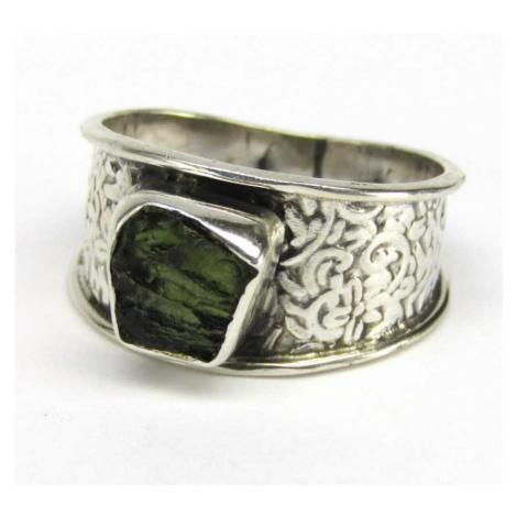 AutorskeSperky.com - Stříbrný prsten s vltavínem - S5372