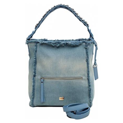 Světle modrá džínová shopper kabelka BASIC