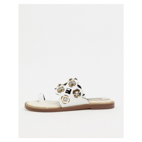 River Island laser cut out sandal in white