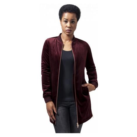 Ladies Long Velvet Jacket - burgundy