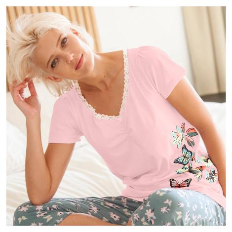 Blancheporte Pyžamové tričko s krátkými rukávy, středový potisk motýlů růžová