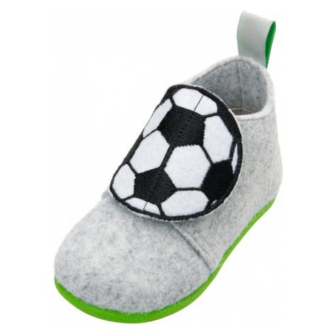 PLAYSHOES Pantofle 'Fußball' šedá / černá / bílá