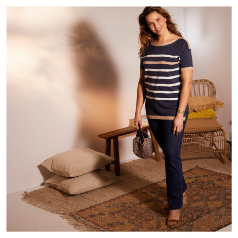 Blancheporte Pruhovaný pulovr s patenty a krátkými rukávy nám. modrá/režná