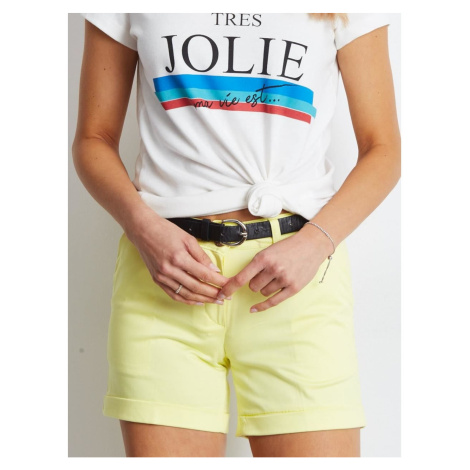 Women´s light yellow shorts Fashionhunters