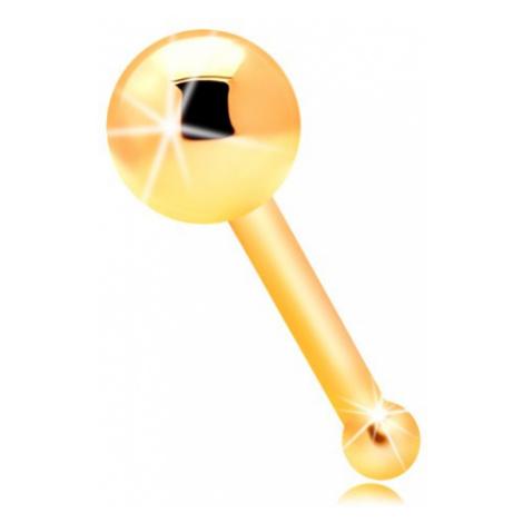 Piercing do nosu ve žlutém 14K zlatě - rovný tvar, lesklá hladká kulička Šperky eshop