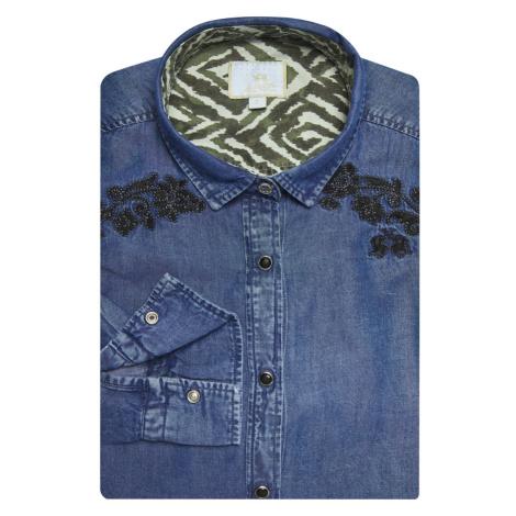 Košile La Martina Woman Shirt L/S Denim Tencel - Modrá