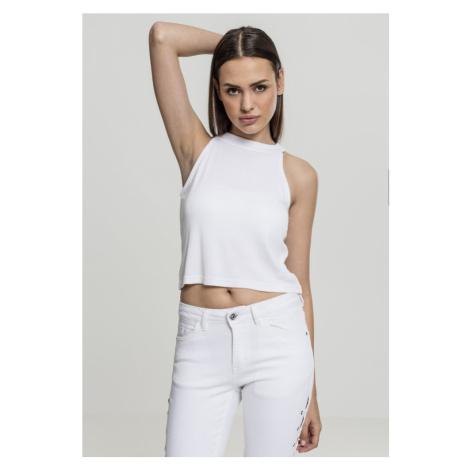 Ladies Rib Turtleneck Cropped Top - white Urban Classics