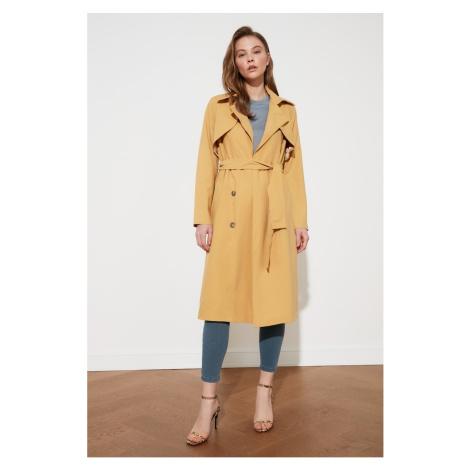 Trendyol Mustard Long Trench Coat