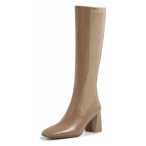 Dámské kožené kozačky s úpletem vysoké boty na podpatku
