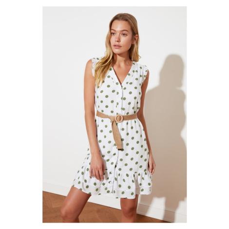 Trendyol White Belt Polka-Ed Dress