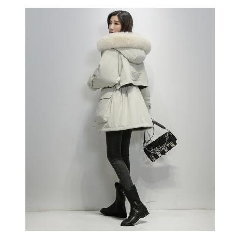 Stylová zimní bunda oversize dámská parka s podšívkou a kožíškem
