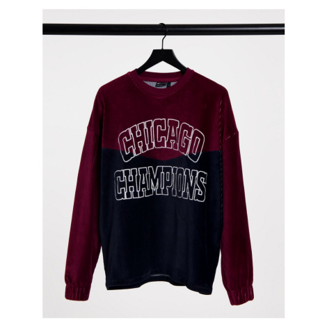 ASOS DESIGN oversized cut & sew cord long sleeve t-shirt with front text embroidery-Multi