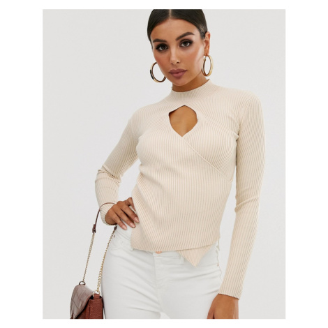 4th & Reckless ribbed wrap jumper with keyhole in mocha-Neutral