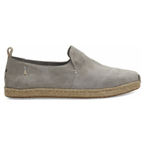 Drizzle Grey Pig Suede Men Deconstructed Alpargata Rope Toms