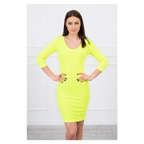 Dress fitted with neckline yellow neon Kesi