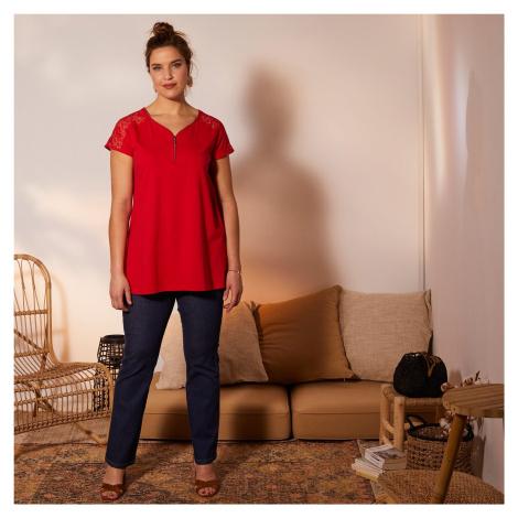 Blancheporte Tričko se zipem a krajkou, červené červená