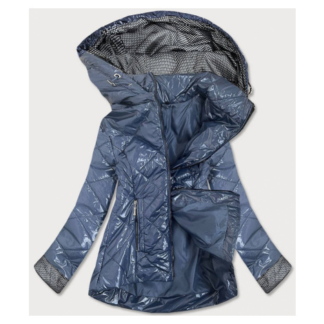 Světle modrá lesklá dámská prošívaná bunda (B9573) modrá
