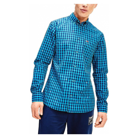 Tommy Jeans pánská modrá kostkovaná košile Tommy Hilfiger