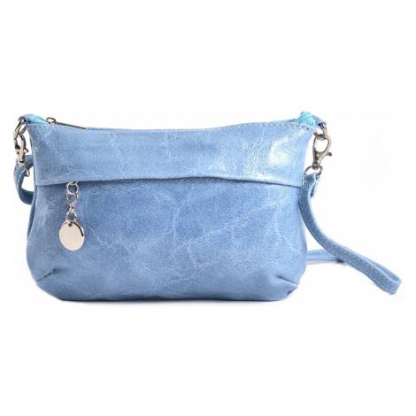 Dámská kabelka/kapsa i společenská s leskem kožená sv.modrá, 22 x 7 x 14 (IT00-20149-11KUZ)
