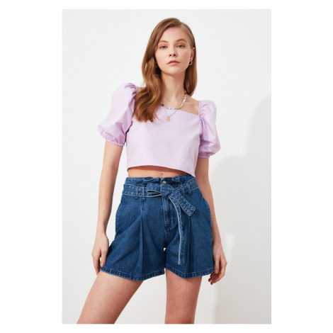 Trendyol Blue Tie Detailed Denim Shorts