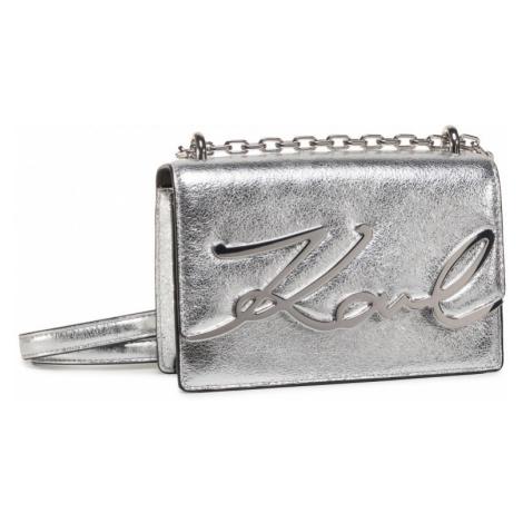 Stříbrná kožená kabelka - KARL LAGERFELD | Signature