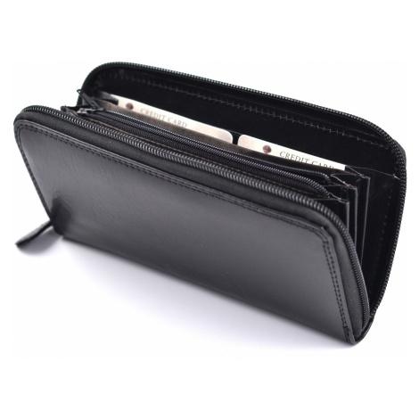 Dámská kožená peněženka na šířku zipová vybavená černá, 19 x 1 x 10 (SB00-V923-09KUZ)