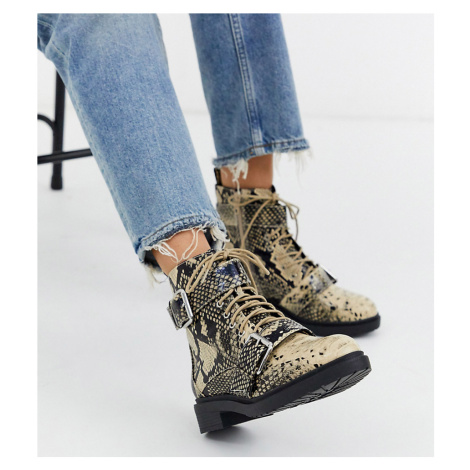 Miss Selfridge hiker boots with double buckle detail in snake print-Cream