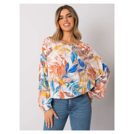 Béžové dámské tričko s potiskem květin EM-BZ-001N-2.31P-beige EX MODA