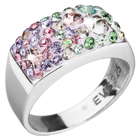 Evolution Group Stříbrný prsten s krystaly Swarovski mix barev fialová zelená růžová 35014.3