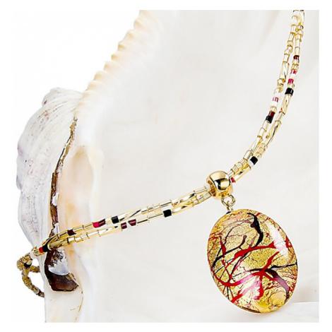 Lampglas Elegantní dámský náhrdelník My Roots s perlou Lampglas s 24karátovým zlatem NP15