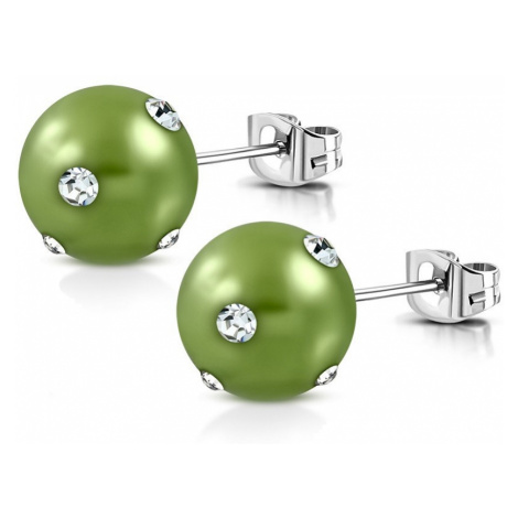 Ocelové náušnice - syntetická akrylová perla ve světle zeleném odstínu, zirkony Šperky eshop