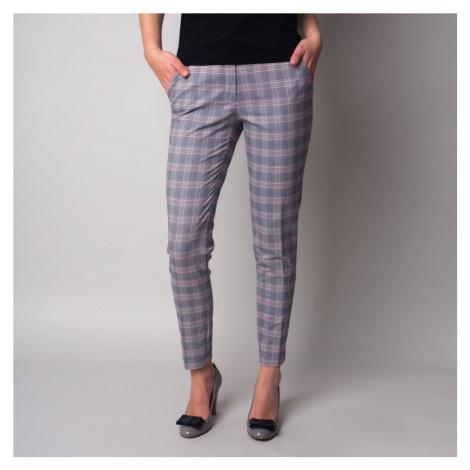 Dámské společenské kostkované kalhoty s vyšším pasem 11248 Willsoor