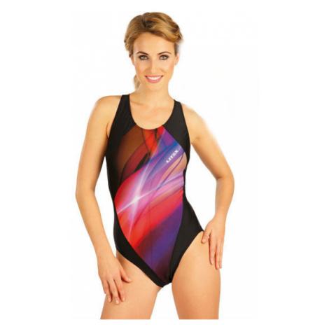 Dámské jednodílné sportovní plavky Litex 52503 tisk | černa