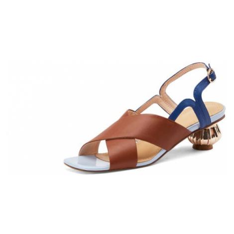 Společenské sandály letní svatební boty kožené na kulatém podpatku