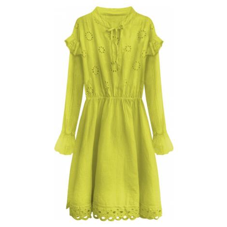 Bavlněné dámské šaty v limetkové barvě s výšivkou (303ART) Made in Italy
