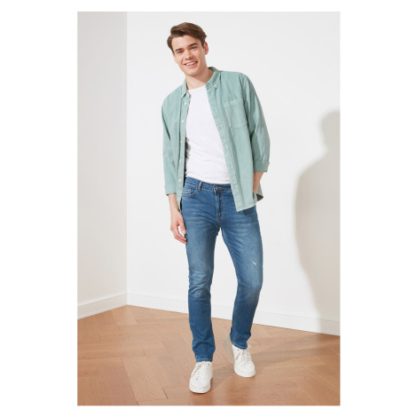 Trendyol Indigo Men's Ripped Detail Normal Waist Skinny Fit Jeans